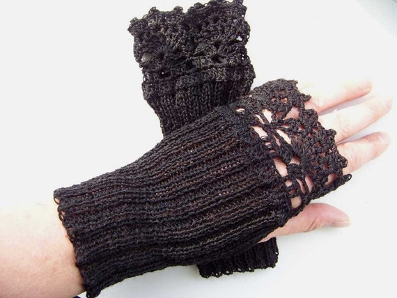Knitting Pattern For Lace Gloves : Knit/crochet pattern PDF Lace fingerless by BernioliesDesigns