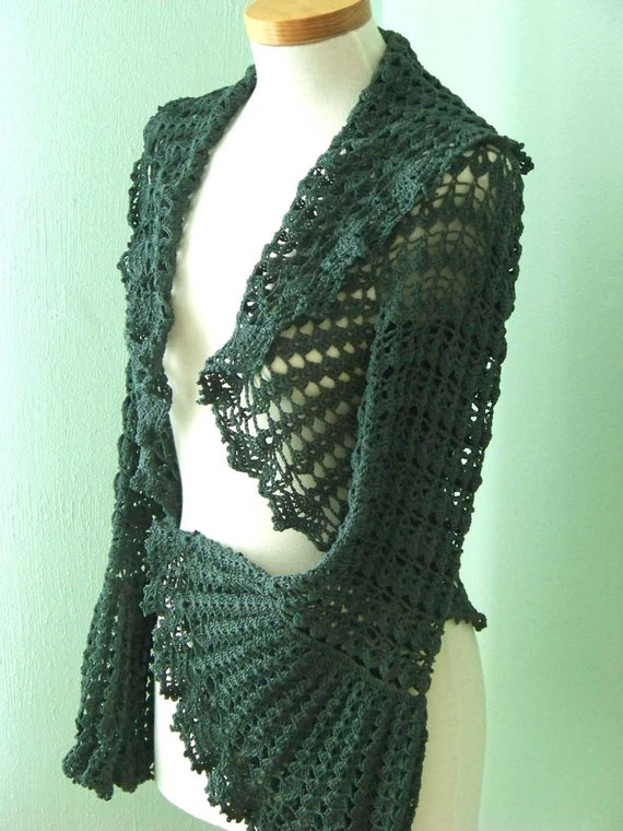 Green crochet shrug, PDF pattern