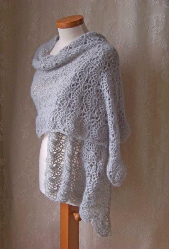 SILVER, Crochet shawl pattern, PDF