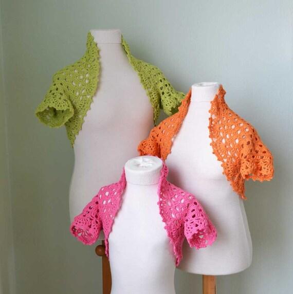 KITTS, Crochet shrug pattern for girls, PDF
