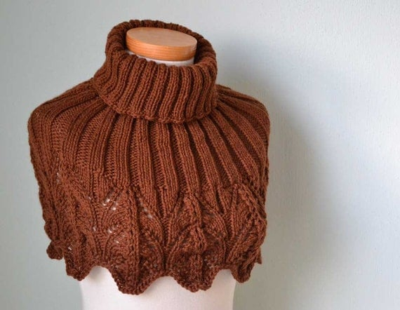 Knitting pattern, Brown lace capelet, PDF