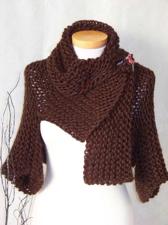 Knitting Pattern Shrug : Knitting pattern Brown shrug with big collar PDF