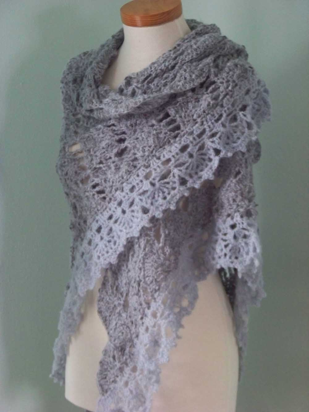 Grey triangular shawl crochet PDF pattern
