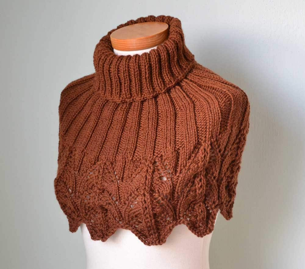 Knitted Capelet Pattern : Knitting pattern Brown lace capelet PDF