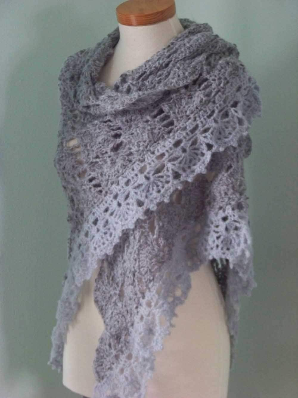 Free Knitting Patterns For Mohair Scarves : Grey mohair shawl crochet PDF pattern