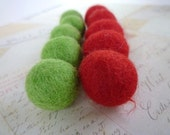 Wool Felted Balls x 10 - Lime Green and Red- 2cm