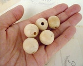 Round Wooden Beads - Natural - 20mm - Pack of 10
