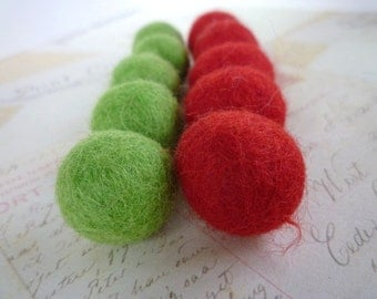 Felt Balls x 20 - Lime Green and Red- 2cm