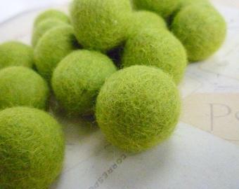 Felt Balls x 10 - Lime Green - 2cm