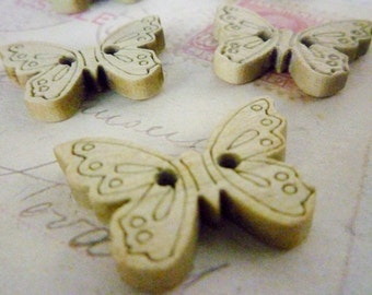Wooden Butterfly Buttons, Pack of 5