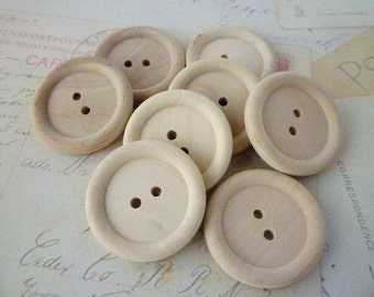 Wooden Buttons, Large 30mm Round Wood Buttons, WHOLESALE - PACK OF 100