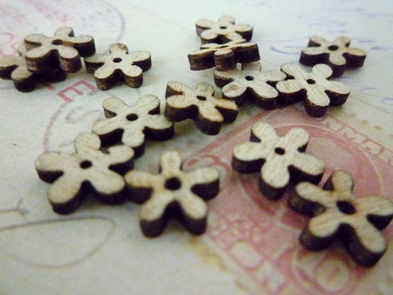 Wooden Flower Buttons, Tiny Flowers, Pack of 10