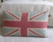 Large muted blue and red vintage inspired union jack cushion cover
