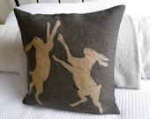 hand printed  charcoal rustic boxing hare pillow cover