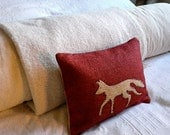 Hand printed new small deep red fox cushion