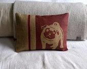Hand printed mulberry pug cushion