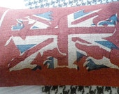 Rustic Welsh dragon with union jack flag cushion cover