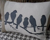 hand printed natural & midnight blue birds on a branch cushion