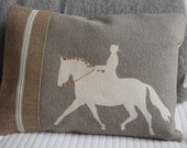 Handprinted dressage horse and rider cushion