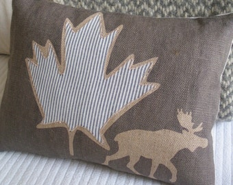 hand printed donkey brown  rustic moose and maple cushion