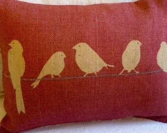 hand printed rustic bird cushion
