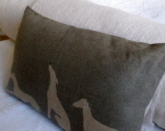 hand printed greys loomstate linen grey hound whippet triptyque cushion cover