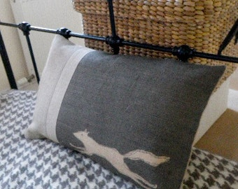hand printed and stitched  running urban fox cushion cover
