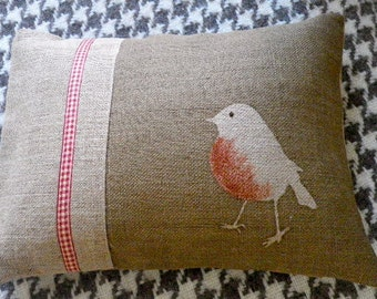hand printed brown robin cushion