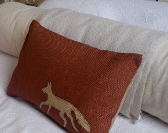 hand printed  red hessian rustic fox cushion cover