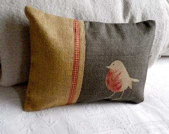 Hand printed charcoal robin cushion