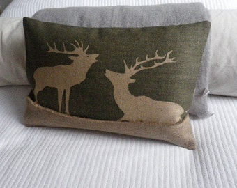 hand printed olive rustic stag cushion cover