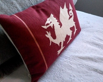 hand printed reversible  claret dragon cushion cover