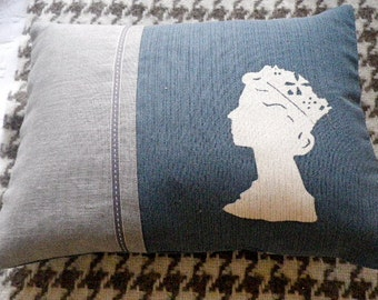 hand printed muted blue  reversible Golden jubilee commemorative cushion