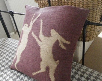 new hand printed  reversible heather boxing hare cushion cover