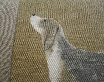 handprinted beagle/hound cushion