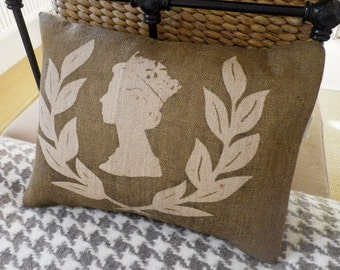 Hand printed limited edition jubilee laurel wreath and head cushion