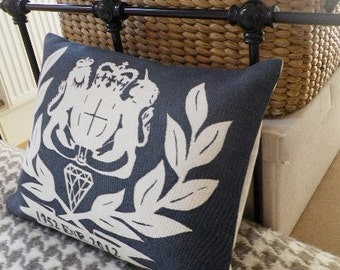 hand printed limited edition Jubilee coat of arms cushion