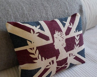 handprinted union jack  flag cushion with royal silhouette inlay