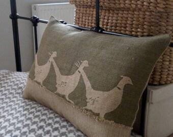 hand printed triple pheasant cushion cover