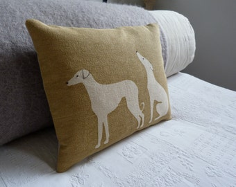 hand printed  soft  gold hound pair cushion