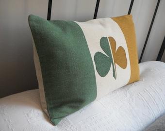 hand printed irish shamrock tricolour flag cushion cover