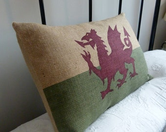 Hand printed heritage Welsh flag cushion cover