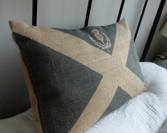 hand printed  rustic Scottish  saltire flag cushion cover