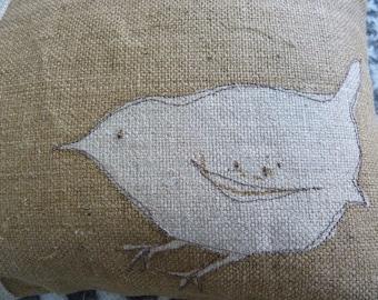 Hand printed little round  stiched wren cushion