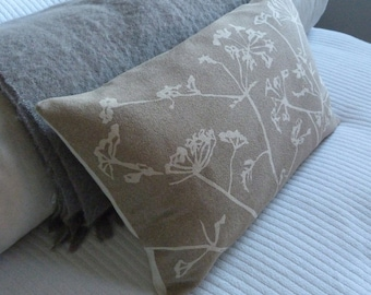 hand printed stone cow parsley linen cushion cover