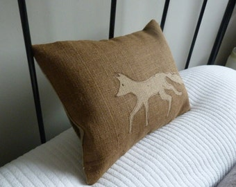 hand printed and stitched little brown rustic  fox cushion