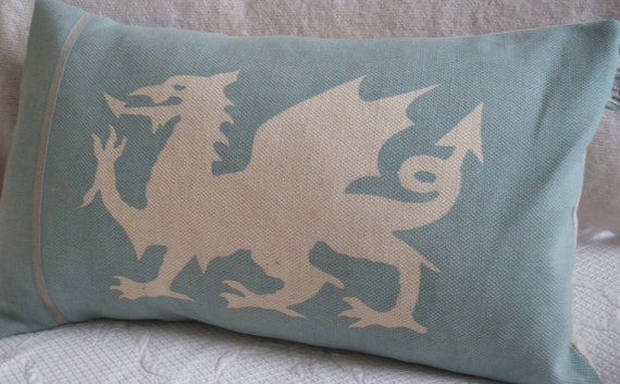handprinted duck egg and ivory dragon cushion