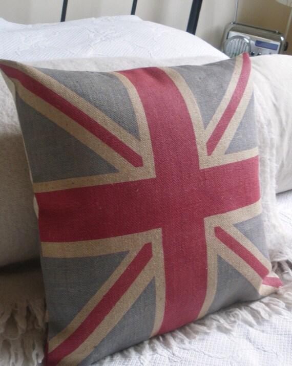 rustic handprinted hessian union jack flag cushion cover