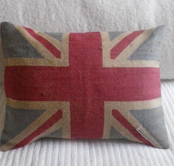 hand printed rustic union jack flag cushion
