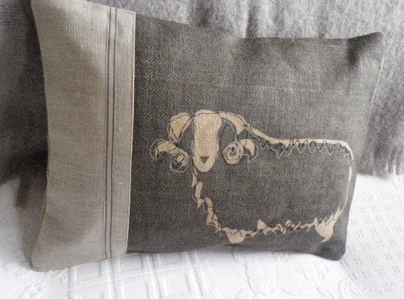 hand printed and stitched charcoal curly horn sheep cushion